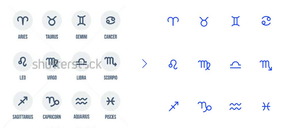 Jake 想用这些符号作为星座的参考