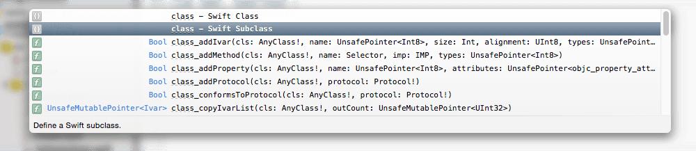 显示自动补全的内容,有 Subclass 选项