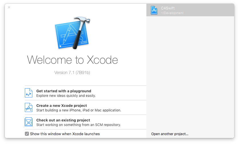 Select: Create New Xcode Project